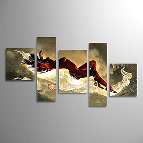 Ручная роспись маслом Figture девушку Обнаженная лежа в постели с растянутыми кадр Набор 5 Lightinthebox 5156.000