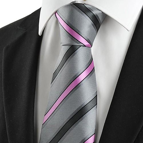 Новый Полосатый Розовый Серый новинка Мужская Галстук для свадьбы Сувениры