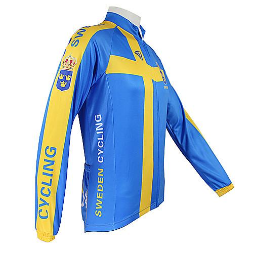 Kooplus2013 Чемпионат Швеции Джерси 100% полиэфирных волокон Wicking Велоспорт Рубашка с отражающей лентой Lightinthebox 1288.000