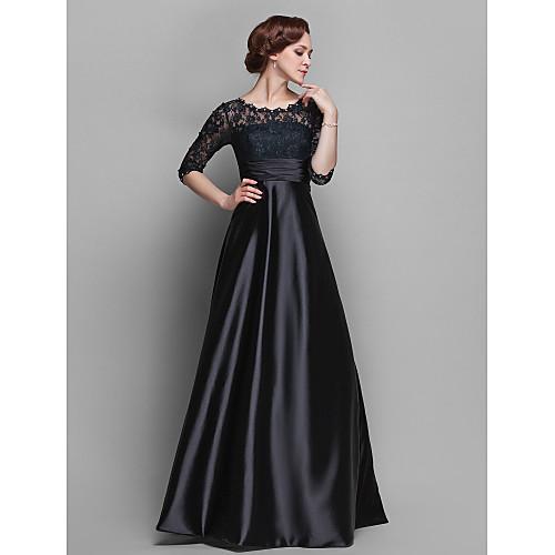 -линия жемчужина длиной до пола стрейч атласа и кружева мать невесты платье (682760)