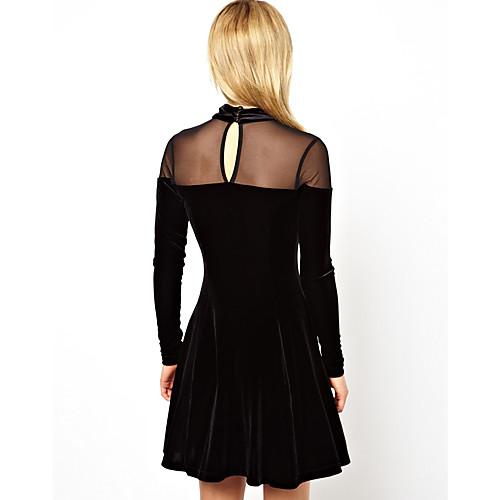 Бренд Дизайн Новый европейский Женская мода плюс размер Осень Зима с длинным рукавом бархата Patcwork Платье 9043 Lightinthebox