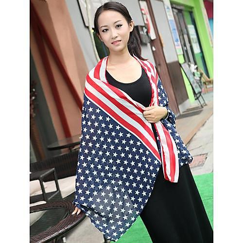 Мужские Женские американский флаг Звезды Stripes Длинные шифон шарф Lightinthebox 300.000