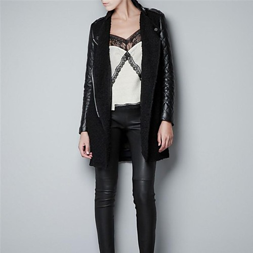 Пальто женское с воротником стойкой и стегаными кожаными рукавами Lightinthebox 2706.000
