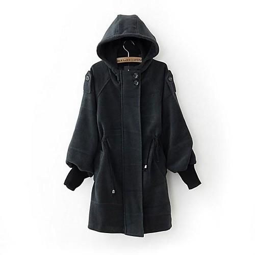 С капюшоном Женская с погон Solid Цвет Длинные Стиль шнурок талией шерстяные пальто Lightinthebox 1172.000
