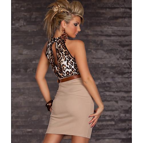 Новая мода женщин сексуальный леопарда печатных Повседневная Bodycon Мини платья партии платья с поясом 9014 Lightinthebox 644.000