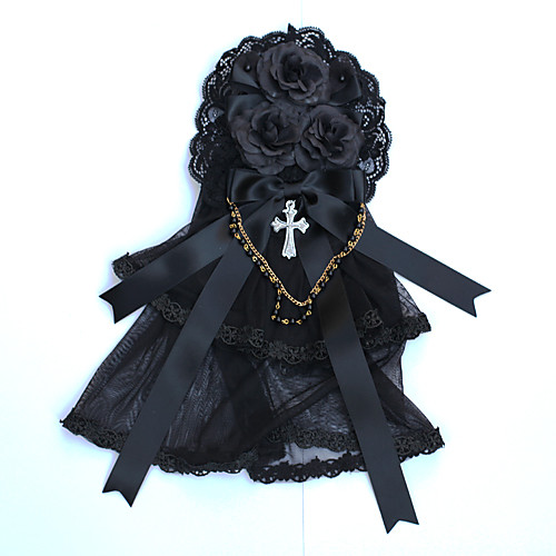 Темная роза ручной Черное кружево хлопок Готическая Лолита головной убор с крестом