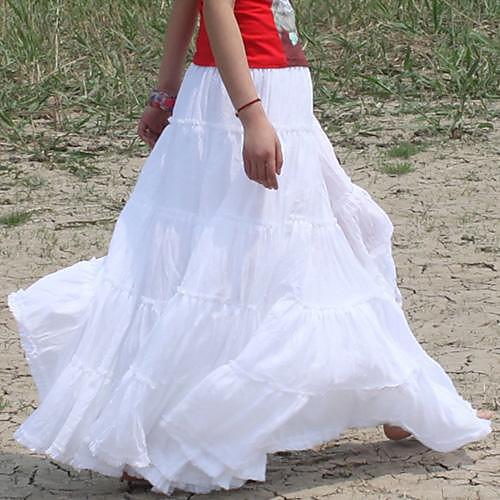 Цыганская Bohemia Элегантные Большие Хем Хлопок Испания плиссе Танцы Белый Длинные Maxi Юбки для женщин Lightinthebox 1703.000