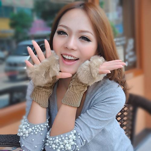 Женская Варежки пальцев Длинный Теплые трикотажные Искусственный мех перчатки Lightinthebox 300.000