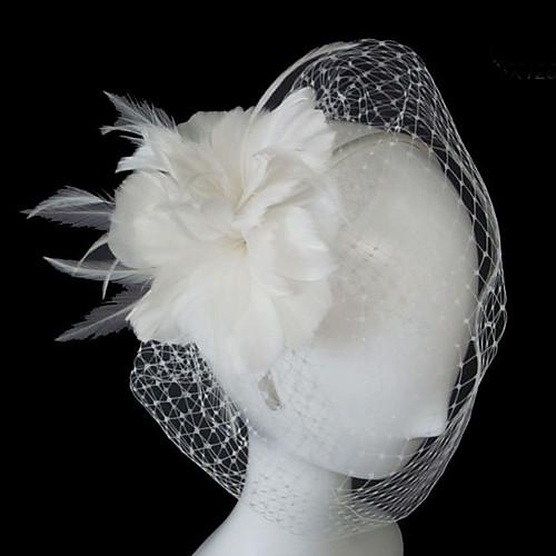 Один слой Свадебные вуали Короткая фата / Завесы для птиц с Цветы из сатина Тюль Платье-трапеция, бальное платье, платье-принцесса, платье-чехол, платье-русалка фото