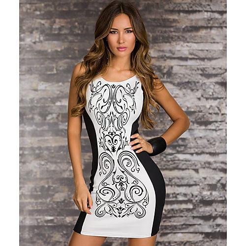 ML Плюс Размер Новая мода Женщины Vintagte Отпечатано Черно-белый Лоскутная Платье Bodycon мини платье 9023 Lightinthebox 429.000