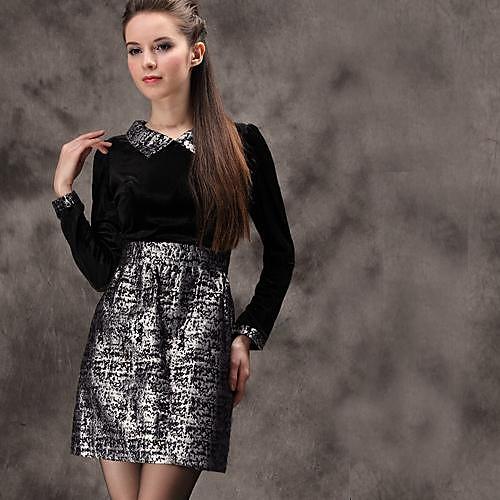 Женская отложным воротником Бархат жаккард с длинными рукавами платья Lightinthebox 1144.000
