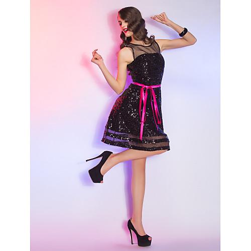 строки совок короткий / мини блестками и органза и атлас коктейльное платье (759828) Lightinthebox 3854.000