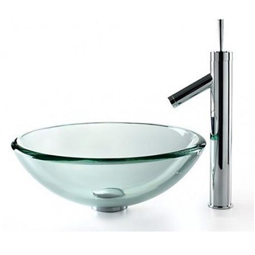современный прозрачный круглый закаленное стекло судна раковина со сливом ванной воды и ванной кран Lightinthebox 8164.000