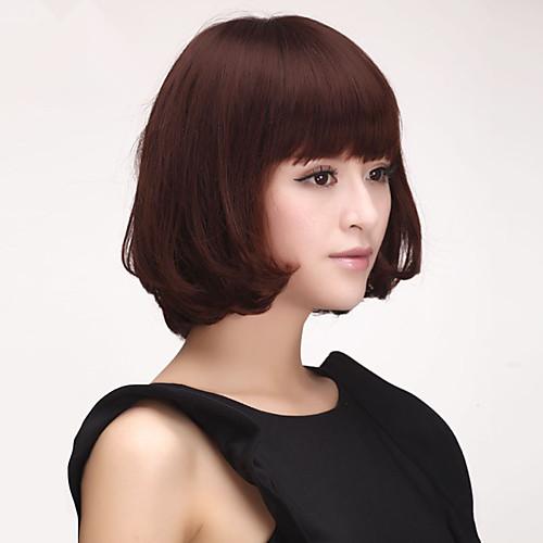 100% человеческих волос Короткие вьющиеся парик волос Боб Полный Удары монолитным (каштановый) Lightinthebox 2320.000