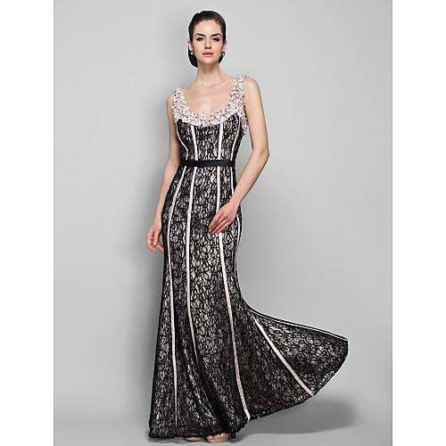 оболочкой / колонки ремни длиной до пола, стрейч атласа и кружева вечернее платье