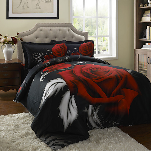 Duvet Cover Set,4-Piece 100%Cotton 3D Effect Reactive Printed Rose in Black Full Size