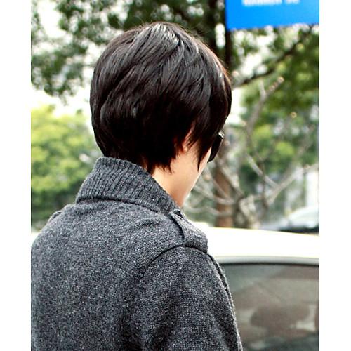Высококачественных синтетических удары стороны монолитным Короткие прямые Мужская парик (естественная чернота) Lightinthebox 1265.000