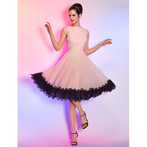 Платье коктейльное из шифона длиной до колен, с вырезом Бато, плиссированная юбка с кружевной отделкой по краю Lightinthebox 3437.000