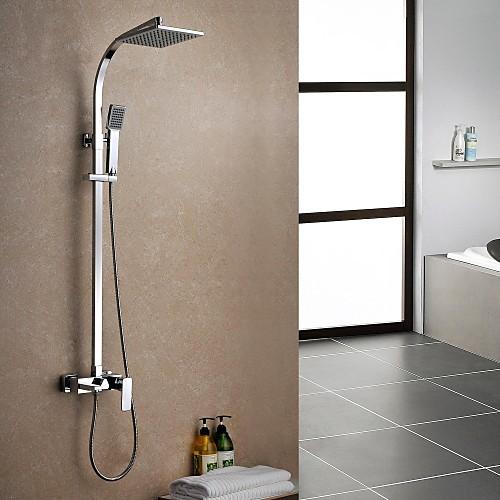 Современная Дождь душ хромированная отделка латунь три отверстия Одной ручкой смеситель для душа Установить Lightinthebox 12890.000