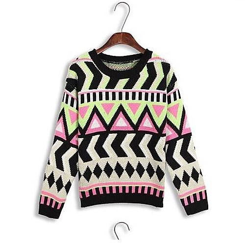 Ретро Поп Стиль Разноцветные Женщины Волнистые геометрический узор пуловер свитер Lightinthebox 865.000