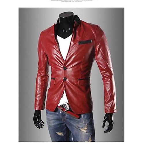 Мужская мода стоять воротник искусственная кожа пальто куртки Lightinthebox 2010.000