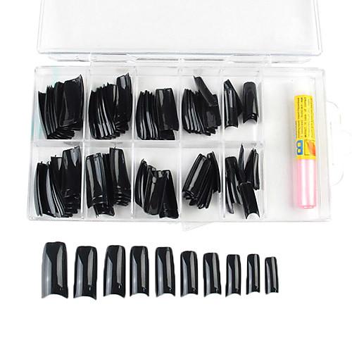 100PCS Смешанная Размер Черные французские Типсы с клеем Lightinthebox 214.000
