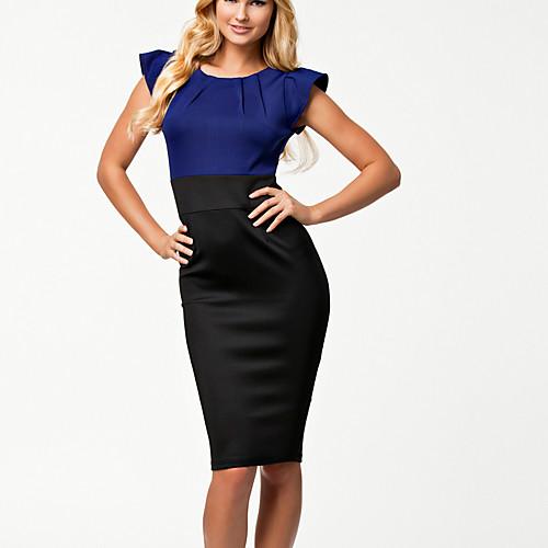 Topro 2014Elegant синий и черный Лоскутная Колено LengthPencil Платье Платье 9075 (Цвет экрана) Lightinthebox 558.000