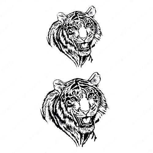 5 шт Белый Тигр Водонепроницаемый Временные татуировки (10.5cm  20.5cm) HM420 Lightinthebox 429.000