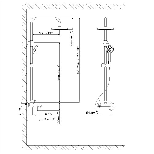 Современная Дождь душ хромированная отделка латунь три отверстия Одной ручкой смеситель для душа Установить Lightinthebox 12461.000