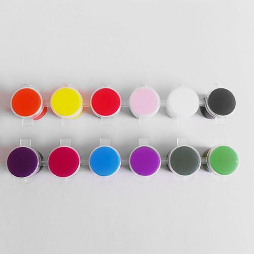 12-Цвет 3D акриловые Nail Art красящего пигмента Комплекты с 2PCS Акриловая Pen Brush Lightinthebox 558.000