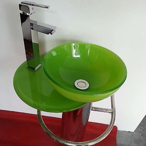 современный красочный круглый закаленное стекло судна раковина с ванной раковина со сливом ванной воды и ванной кран Lightinthebox 8593.000