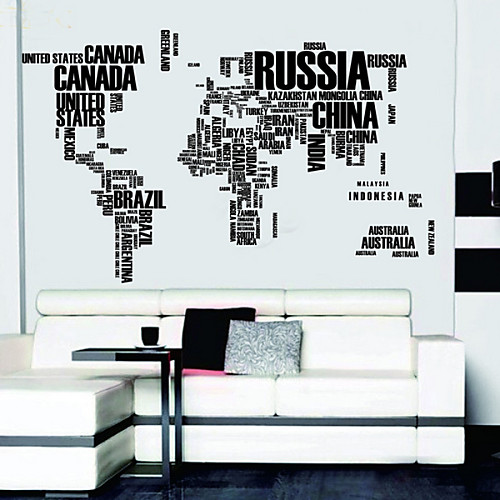 Письма карта мира Наклейки на стены Съемный Стикеры стены Lightinthebox 1202.000