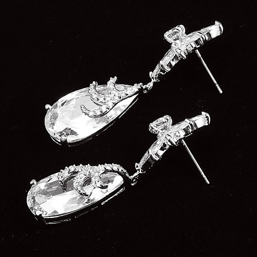 Гламурная Platinum покрытием С Циркон Цветочный образный Женские серьги падение Lightinthebox 1052.000