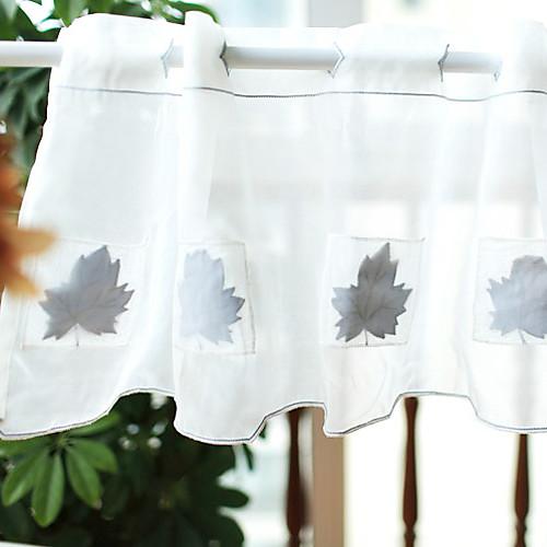 Страна белый твердый Pattern Минималистский Maple Leaf Валанс (20
