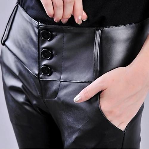 Женские Высокая талия Кожа PU Тощие сексуальные брюки Lightinthebox 1256.000
