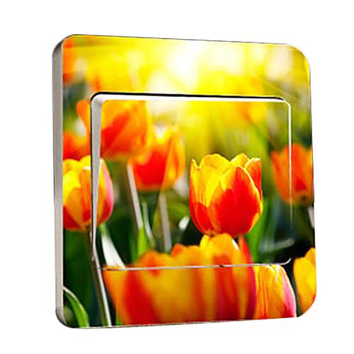 Цветочные переключатель наклейки Желтый тюльпан Легкие, съемные стикеры Lightinthebox 300.000