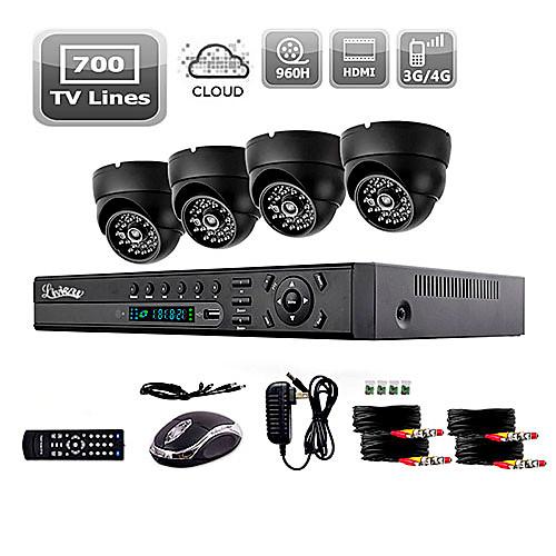 liview 700 ТВЛ в помещении камера день / ночь безопасности и 4-канальный HDMI 960H система сетевой видеорегистратор Lightinthebox 5156.000