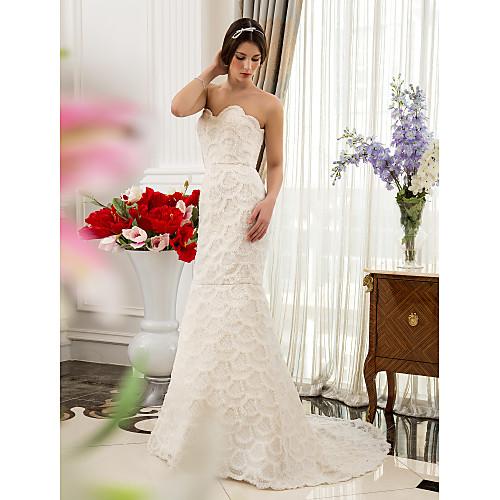 труба / русалка возлюбленной развертки / щетка поезд атласа и кружева свадебное платье Lightinthebox 6337.000