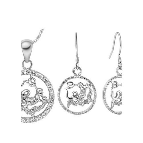 Оригинал посеребренными Цирконий зодиака Водолей Женская комплект ювелирных изделий (ожерелья, серьги) (золото, серебро) Lightinthebox 437.000