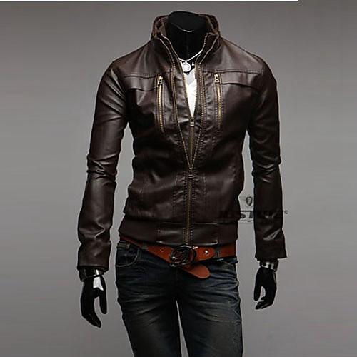 Reverie Uomo Мужская Встроенная Браун кожаные куртки Lightinthebox 1675.000