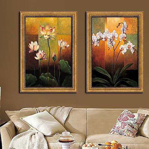 Классическая Цветок Цветочные / ботанический подставил Печать холст Набор из 2 Lightinthebox 3007.000