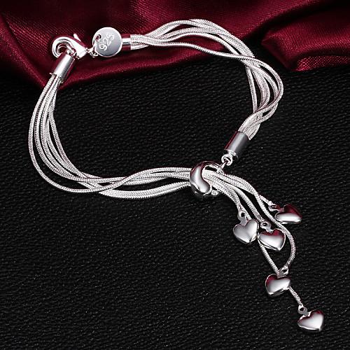 Высокая Оригинал Качество Серебро с серебряным покрытием с малолетка Сердце шарм браслеты Lightinthebox 128.000