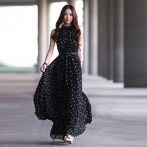Одноразмерное шифоновое макси-платье в горошек Lightinthebox 949.000