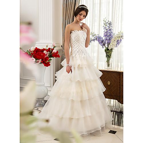 Линии без бретелек развертки / щетка поезд атласа И Свадебное платье из органзы Lightinthebox 7605.000