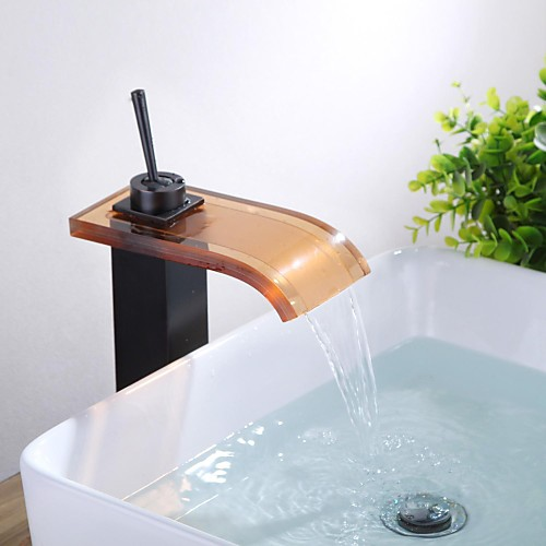 Античная масло втирают Бронзовый Стекло Водопад стекла Носик одно отверстие Одной ручкой кран раковины ванной комнаты Lightinthebox 5156.000