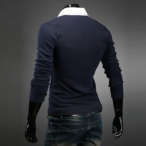 Reverie Uomo Мужская V-образным вырезом Синий Футболка Lightinthebox 687.000
