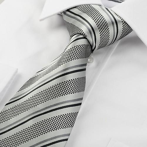 Новый Полосатый Серый Черный Классические мужские Галстук Свадьба Сувениры # 1049 Lightinthebox 472.000