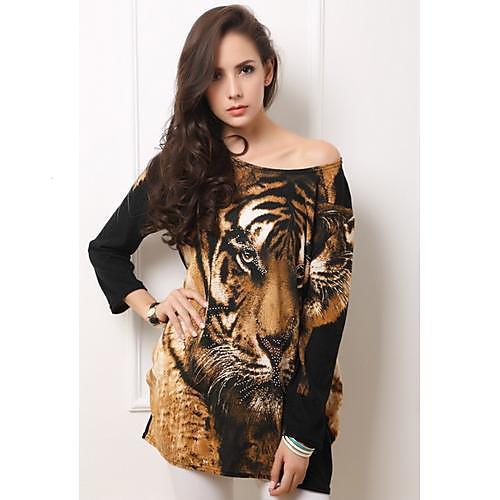 Женская Тигр Рисунок Горячая бурения и кашемира тонкими длинными рукавами платья Lightinthebox 586.000