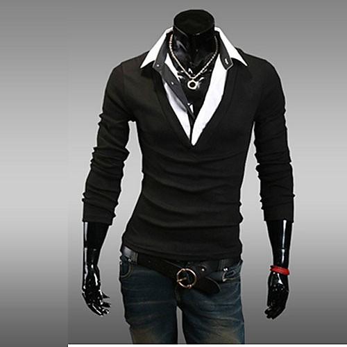 Reverie Uomo Мужская V-образным вырезом Черная футболка Lightinthebox 644.000