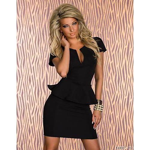 Западная Уникальный V шеи Сексуальная рюшами Waisting платье QSMX Женская (черный) Lightinthebox 2863.000